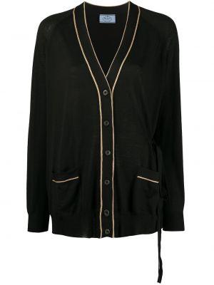 Вязаный кардиган черный с завязками Prada