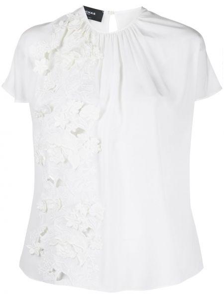 Шелковая прямая блузка с вышивкой с вырезом Rochas