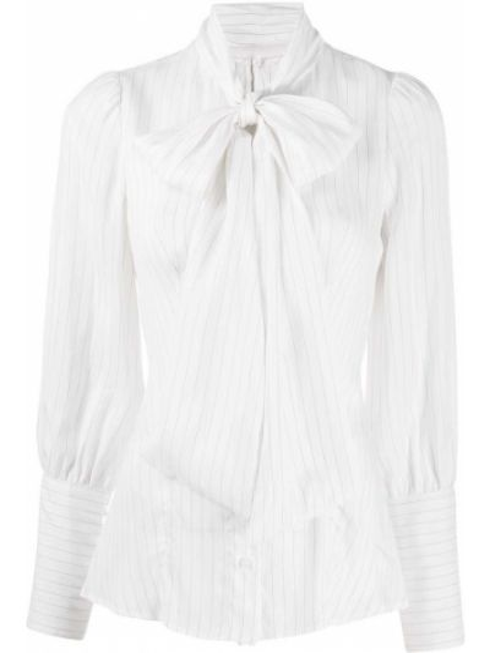Шелковая белая блузка с бантом Dondup