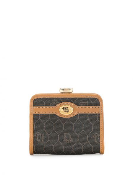 Czarny skórzany portfel na monety Christian Dior