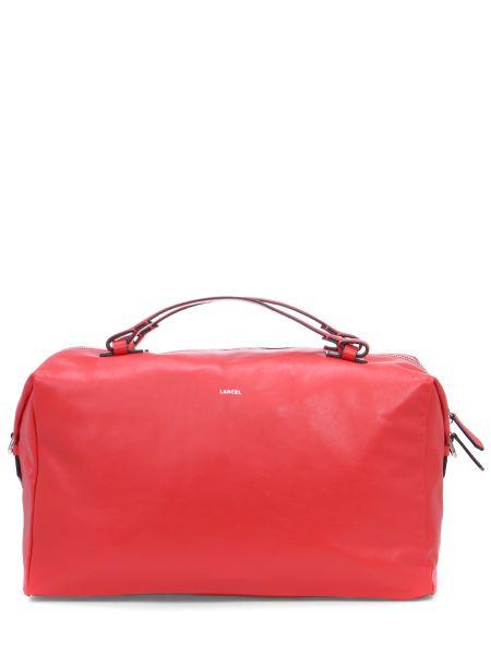 Кожаная красная кожаная сумка на молнии Lancel