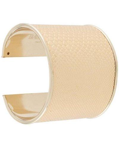 Золотистый желтый кожаный браслет металлический позолоченный Balmain Pre-owned