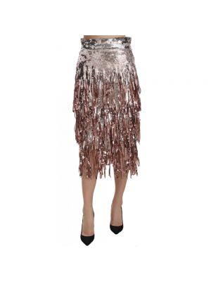 Spódnica midi tiulowa z frędzlami Dolce And Gabbana