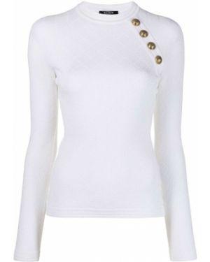 С рукавами белый вязаный длинный свитер Balmain