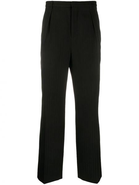 Wełniany czarny spodnie o prostym kroju z paskiem z paskami Saint Laurent