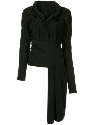 Шелковый черный топ на шнуровке винтажный Yohji Yamamoto Pre-owned