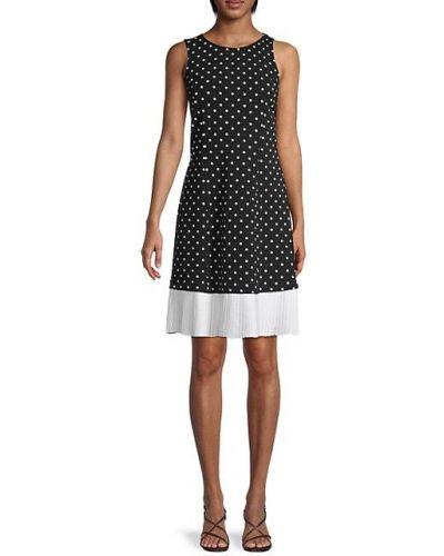 Черное платье в горошек без рукавов Nanette Lepore