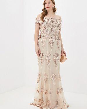 Вечернее платье осеннее бежевое Goddiva Size Plus