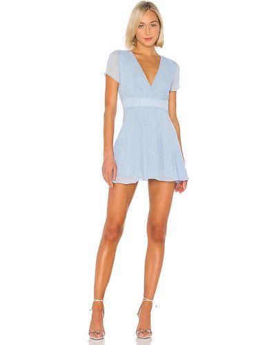 Szyfon niebieski światło sukienka mini z zamkiem błyskawicznym Superdown