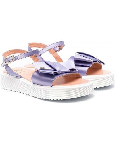 Fioletowe sandały skorzane peep toe Elisabetta Franchi La Mia Bambina