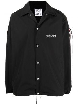 Хлопковая черная классическая рубашка с воротником Marcelo Burlon. County Of Milan