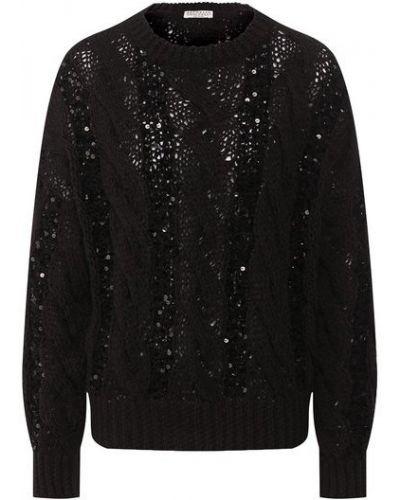 Хлопковый черный пуловер с круглым вырезом Brunello Cucinelli