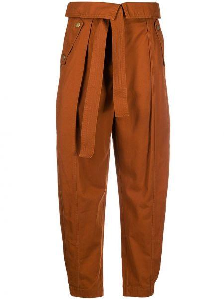 Brązowy bawełna z wysokim stanem spodni spodnie Ulla Johnson