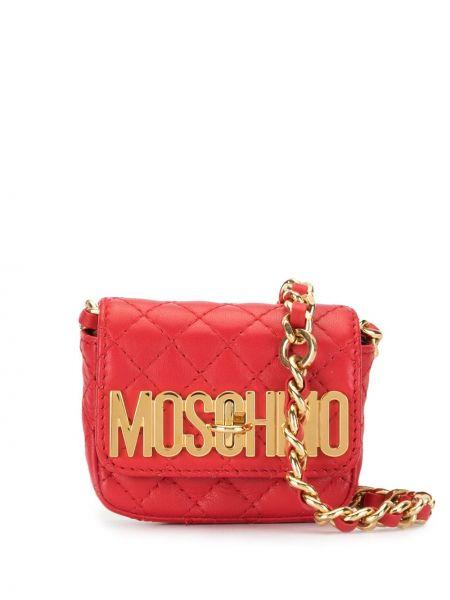 Золотистая красная стеганая сумка через плечо с декоративной отделкой Moschino Pre-owned