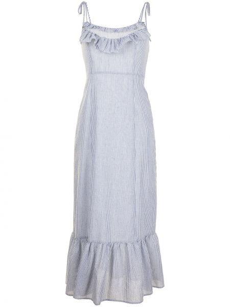 Хлопковое серое платье миди с оборками Alice Mccall