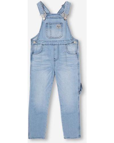 Синий джинсовый комбинезон с карманами на пуговицах Gloria Jeans