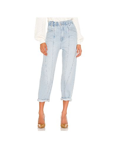 Синие джинсы бойфренды на молнии с поясом Free People