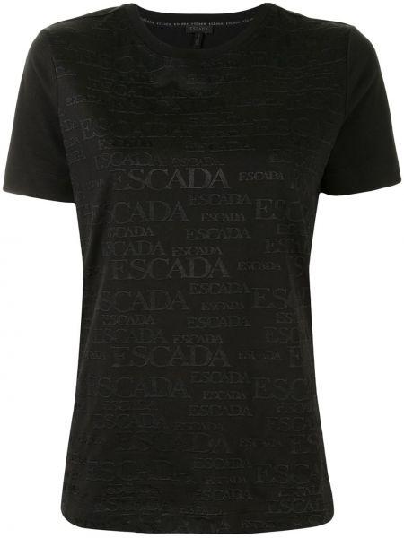 Хлопковая черная футболка с вышивкой с круглым вырезом Escada
