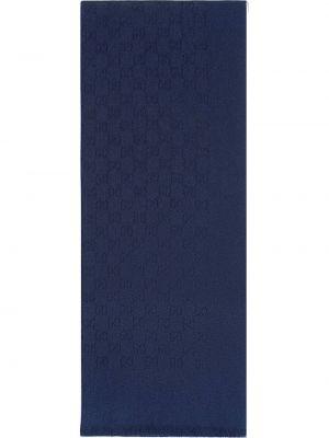 Синий кашемировый шарф Gucci