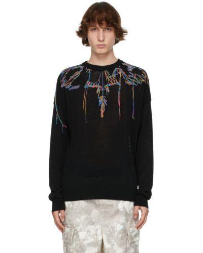 Czarny długi sweter bawełniany z haftem Marcelo Burlon County Of Milan