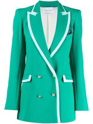 Зеленый удлиненный пиджак двубортный с карманами Hebe Studio