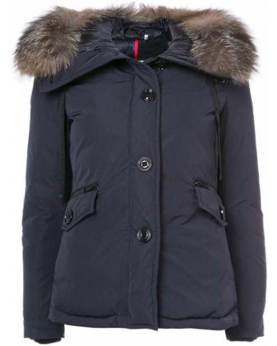 Куртка с капюшоном длинная с мехом с карманами Moncler
