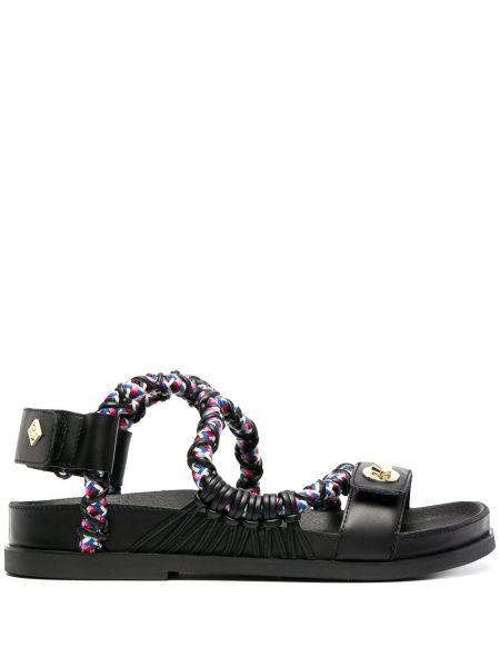 Czarne sandały skorzane peep toe Sandro Paris