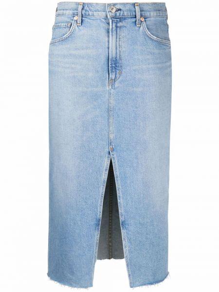 Хлопковая синяя джинсовая юбка с карманами Citizens Of Humanity