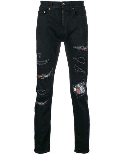 Рваные черные прямые джинсы с жемчугом Overcome