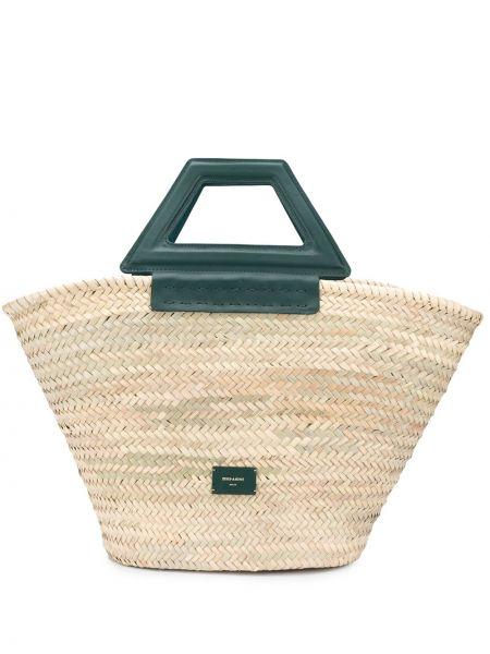 Кожаная сумка соломенная бежевый Zeus+dione