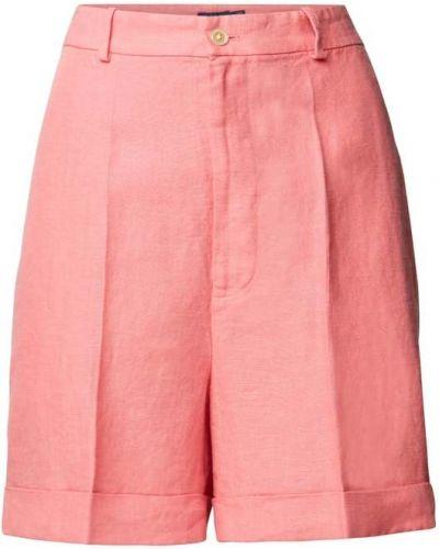 Różowe lniane szorty z wysokim stanem Polo Ralph Lauren