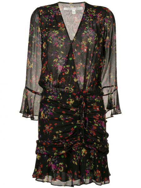 Черное шелковое платье с запахом с оборками Veronica Beard