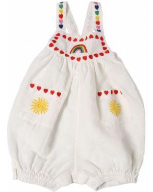 Biały pajacyk na paskach z kieszeniami z dekoltem Stella Mccartney Kids