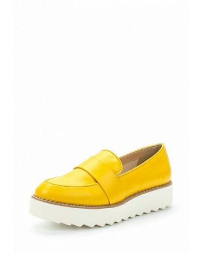 Желтые лоферы на каблуке United Colors Of Benetton