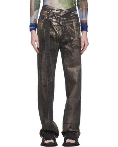 Черные джинсы стрейч с заплатками металлические Ottolinger