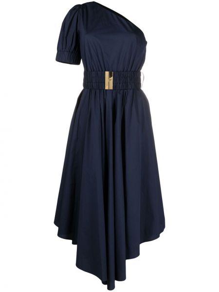 Синее платье на одно плечо с поясом Michael Michael Kors