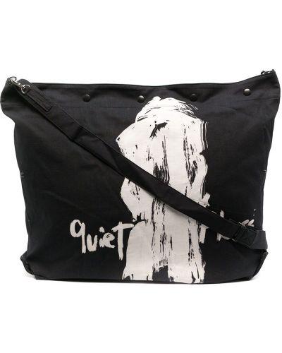 Czarna torebka bawełniana z printem Yohji Yamamoto
