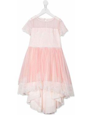 Różowa sukienka mini asymetryczna tiulowa Aletta