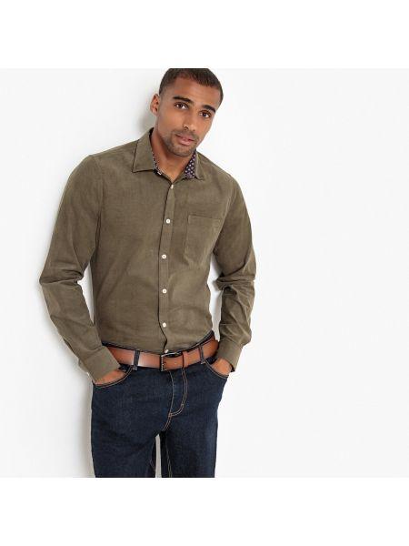 Велюровая прямая рубашка с воротником хаки La Redoute Collections