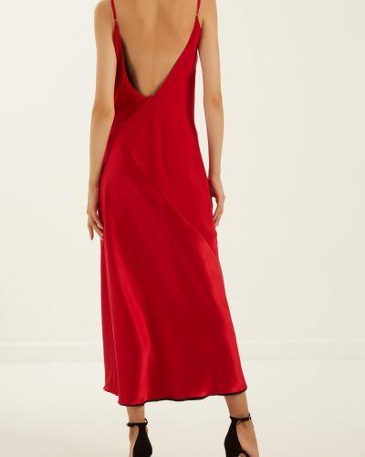 Шелковое красное платье миди с декольте Lesyanebo