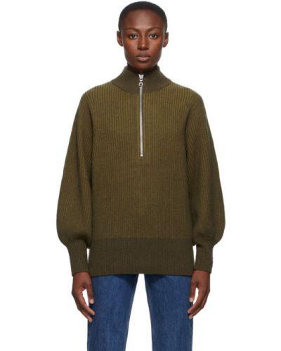 Зеленый шерстяной длинный свитер с воротником Won Hundred