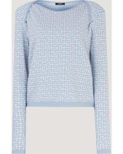 Голубая шерстяная свитер Balmain