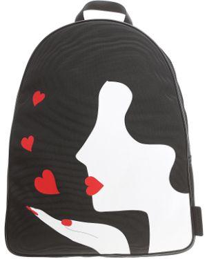 Czarny plecak w paski Lulu Guinness