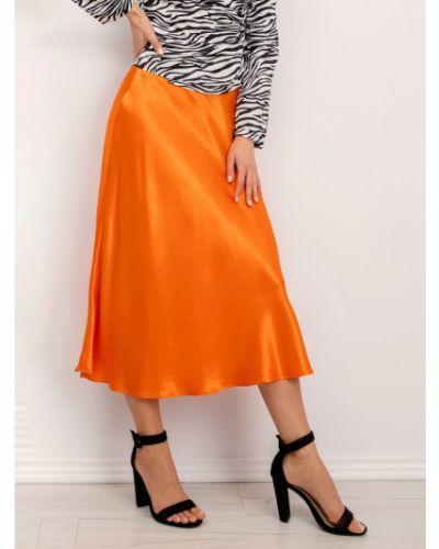 Pomarańczowa spódnica materiałowa Fashionhunters