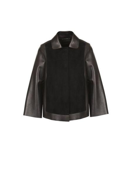 Замшевая свободная черная кожаная куртка свободного кроя Giorgio Armani