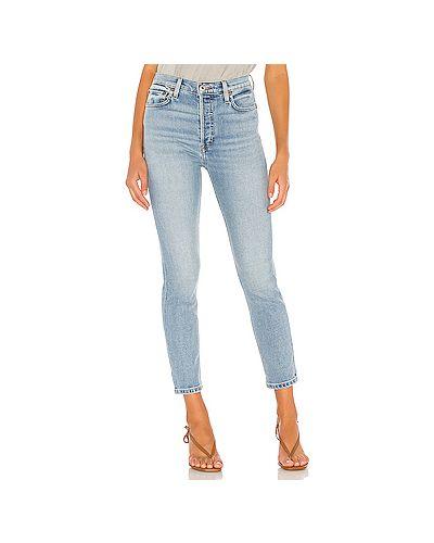 Хлопковые синие джинсы-скинни на пуговицах со складками Re/done