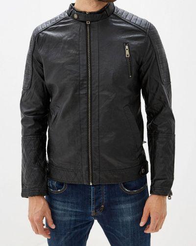 Кожаная куртка черная осенняя Young & Rich