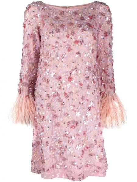 Розовое платье макси с длинными рукавами с перьями Jenny Packham