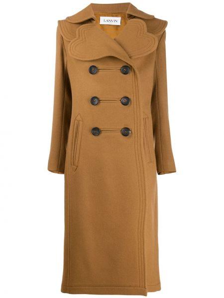 Шерстяное длинное пальто с капюшоном двубортное Lanvin