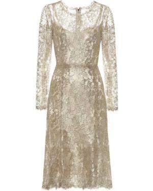 Вечернее платье с цветочным принтом с кружевными рукавами Dolce & Gabbana